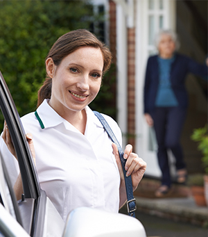 Champion Home Health caregiver showing up to clients home ready to help with whatever is needed.